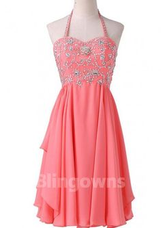 Empire Waist Coral Chiffon Homecoming Dresses ,Halter Short Homecoming Dress,High Low Beaded Short Prom Dresses,Lace Up Back Party Dress, Graduation Dresses Homecoming Dresses High Low, Homecoming Dresses Long, Elegant Prom Dresses, Prom Dresses For Sale, Backless Prom Dresses, Short Dresses, Short Prom, Graduation Dresses, Dress Long
