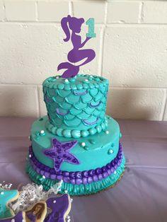 First birthday mermaid theme cake