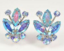 Vintage Earrings SHERMAN 1950s Blue Aurora Borealis Silvertone Bridal Jewellery