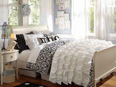 Roupa de cama preto e branco para meninas adolescentes