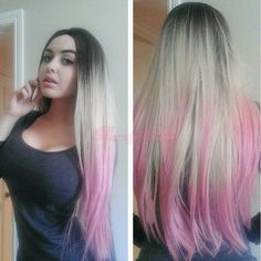 46.00$  Buy here - http://ali4f7.worldwells.pw/go.php?t=32662446867 - Silk straight ombre synthetic lace front wig dark roots blonde to pink three tones hair heat friendly fiber lace wigs for woman 46.00$