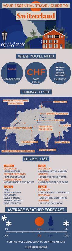 Your Essential Travel Guide to Switzerland (Infographic)|Alps, hiking, adventure, challenge, food, wanderlust