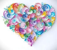 Quilling paper art design: Rainbow Heart handmade gift home decor for her for him anniversary wedding wall art Paper Quilling Tutorial, Paper Quilling Patterns, Quilled Paper Art, Quilling Paper Craft, Quilling Ideas, Quilling Letters, Paper Art Design, Design Art, Handmade Gifts For Him