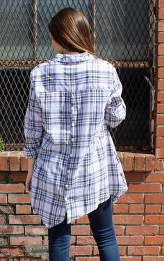 Harmony Blouse in Pink Plaid by Tulip clothing made in USA lagenlook clothing It's a Shopping Thing