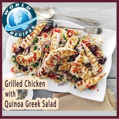 Grilled chicken with quinoa Greek salad. A light dish of grilled ...