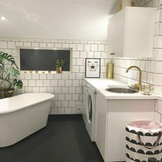 This bathroom/laundry room hybrid is everything. Small Laundry Closet, Compact Laundry, Pink Laundry Rooms, Laundry Room Bathroom, Laundry Room Design, Bathroom Ideas, Bathrooms, Pet Washing Station, Diy Waterfall