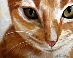 Mary Sparrow Smith from Hanging the Moon – cat art, pets, portrait, paintings, gift ideas, home decor. Orange Tabby Cat