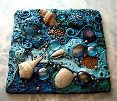 Mosaic Art Tile, Polymer clay, Found Objects, Sea Shells at Low Tide Original