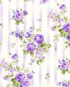 Zoey Christine - Victorian Stripe & Bouquets - Lilac Purple