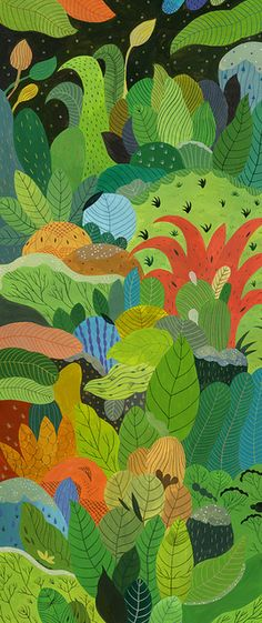 Inca Pan's colorful forest paintings