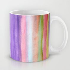 Bright Rainbow Colored Watercolor Paint Stripes Coffee Mug by micklyn