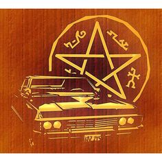 Free Pumpkin Carving Template – Supernatural's Impala - Pink... ❤ liked on Polyvore featuring supernatural