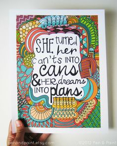 Graduation Gift, Illustration, Inspiring Quote, Girls Room, 8 x 10 Art Print She Turned Her Dreams Into Plans, Kobi Yamada. $17.50, via Etsy.