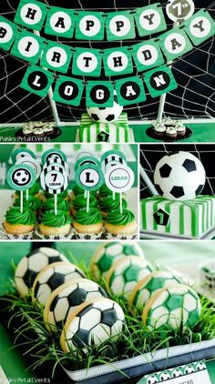 Soccer Birthday Party Supplies Green Black White, Soccer Themed Birthday Party Ideas Supplies, Decorations and Invitations. Treats perfect for any indoor birthday celebration or any soccer fun - kids will love! Soccer Birthday Parties, Football Birthday, Sports Birthday, Sports Party, Birthday Party Themes, Birthday Celebration, Birthday Backdrop, Soccer Party Themes, Birthday Ideas