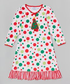Look what I found on #zulily! Red & White Christmas Tree Nightgown - Toddler & Girls #zulilyfinds