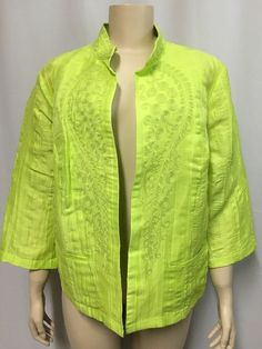 Chico's Jacket Citron 3 XL Yellow Linen Embroidery Women's Mandarin Collar #Chicos #OpenFrontJacket