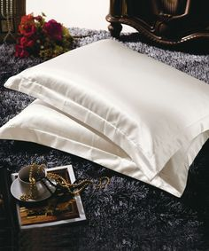 Serenta Silk Cotton Satin Pillow Shams - The silk cotton fabric is satin weaving, the upfront of the fabric is silk, the down side of the fabric is cotton, silk is very good for your skin and hair. Does not absorb moisture like most fabrics, allows the skin and hair to retain the natural moisture from skin pores and hair follicles. This is proven to strengthen the hair, and stop the aging process for dry skin. The white silk satin shine brings out the best in a bed. #Satin