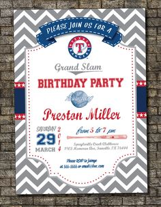 MLB Texas Rangers Birthday Invitation by PurplelephantDesigns, $12.00