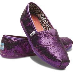 TOMS Purple Glitter Slip-On Shoes for Women 6.5 found on Polyvore