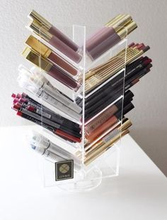 LUX boxes, beauty organization, lipstick holder, clear plastic organizer