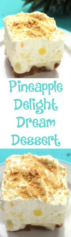 Pineapple Delight Dream Dessert :: Between the sweet flavor and the refreshingly juicy texture, this Pineapple Delight Dream Dessert is sure to please. It feeds a crowd, which makes it a great dessert for your next summertime get together!