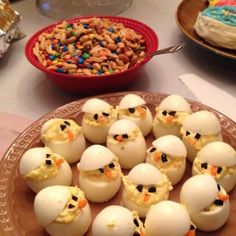 Easter chick deviled eggs! - Click image to find more Holidays & Events Pinterest pins