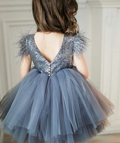 d4a3359072b Flower girl dress - grey glister kid fluffy dress