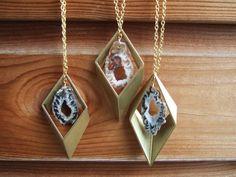 Geometric Brass Rhombus & Agate Geode Slice Necklace - Tentative Decisions