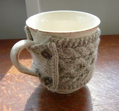 100 Lamb's Wool Cabled Mug Cozy by KnittyKouture on Etsy, $15.00