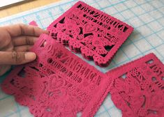 Mexican wedding invitation inserts. Papel picado flags in  intricate DOS PALOMITAS design.