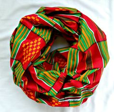 Red and Green African Print Infinity Scarf by SewSophistikated on Etsy