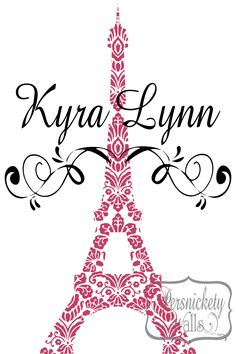 Eiffel Tower Damask design vinyl wall art decal with Personalized Name and Swirls vinyl wall decal sticker - Choose Two Colors. $40.00, via Etsy.