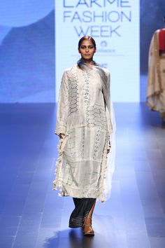 Look 4 Natural Indigo Shibori & Tassel Patchwork Silk Kurta with Shibori Lungi