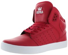 Rock the pavement with the Atom Skate Sneakers by Supra! These hightops feature: genuine leather upper, padded extra tall tongue to sport over skinny jeans or straight leg jeans, mesh inside lining an