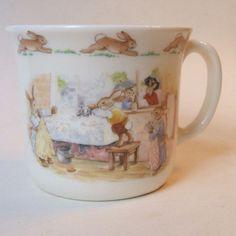Royal Doulton Bunnykins 1 Handle Hug A Mug Washing Up At Sink England Bone China #RoyalDoultonFineBoneChinaEngland