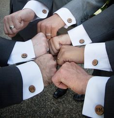 Set of 9 Groomsmen Cuff Links Custom Initial Monogram Wedding Party Cufflinks