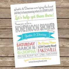 Printable Honeymoon Shower Party Invitations by BDoodlesDesigns