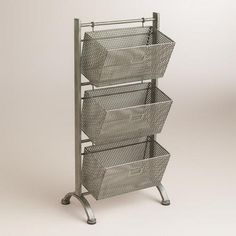 """One of my favorite discoveries at WorldMarket.com: Zinc Jeremy 3-Basket Storage  10.5""""W x 16.25""""L x 29.25""""H  $99.99"""