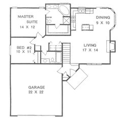 *Traditional Style House Plan - 2/2, basement, garage, 1076 Sq/Ft Plan #58-105 Main Floor Plan - Houseplans.com