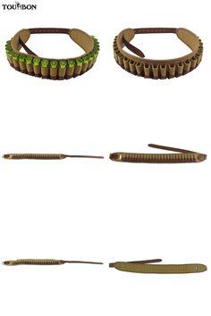 [Visit to Buy] Tourbon Hunting Bandolier 12 Gauge Bullet Cartridges Belt Canvas Genuine Leather Ammunition Holder for Hunter Shooting #Advertisement