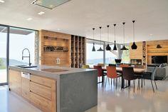 cuisine ouverte design moderne ilot central luminaire suspension design mobilier bois