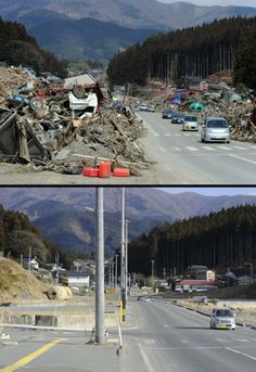 Japan Tsunami One Year Later  This combination of pictures shows a tsunami hit area of Rikuzentakata, Iwate prefecture on March 22, 2011 (top) and the same area on Jan. 15, 2012 (bottom). Credit: Nicolas Asfouri / Toru Yamanaka, AFP / Getty Images