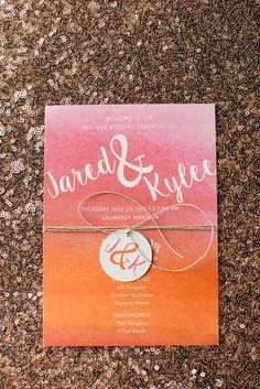 orange and pink wedding invitation - photo by Kimberly Brooke http://ruffledblog.com/farmhouse-fete-wedding-inspiration #weddinginvitations #stationery