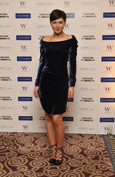 Pin for Later: No Wonder Big Brother's Emma Willis Is the Celeb Mum We All Want to Look Like Emma Willis Sexy off-the-shoulder velvet and lace-up heels made this look from early 2011 memorable.