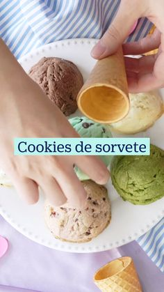 Cookie Recipes, Dessert Recipes, Delicious Desserts, Yummy Food, Ice Cream Cookies, Easy Meals For Kids, Different Recipes, Creative Cakes, Diy Food