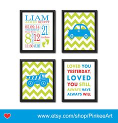 truck theme new baby gift baby birth print car baby by PinkeeArt, $29.00