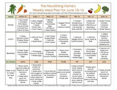 FREE Whole Food Weekly Meal Plans, includes links to recipes!
