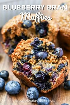 These healthy blueberry bran muffins are the perfect grab and go snack or easy breakfast on busy mornings! Made with blueberries, and wheat bran they are full of antioxidants and fiber making them a healthy dessert option too! Blueberry Bran Muffins, Blueberry Cookies, Blue Berry Muffins, Morning Glory Muffins, Healthy Muffin Recipes, Healthy Muffins, Healthy Dessert Options, All Bran, Cupcakes