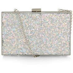 Silver Glitter Box Clutch ($31) ❤ liked on Polyvore featuring bags, handbags, clutches, hard clutch purse, hard clutch, accessories handbags y hard case clutch