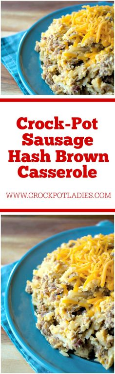 Crock-Pot Sausage Hash Brown Casserole - Whip Up This Amazing And Easy Recipe For Crock-Pot Sausage Hash Brown Casserole Recipe With Just 5 Simple Ingredients For Breakfast Or Brunch Gluten Free and Low Sugar Hash Brown Casserole, Breakfast Casserole Easy, Breakfast Recipes, Breakfast Crockpot, Breakfast Dishes, Sausage Crockpot, How To Cook Sausage, Slow Cooker Recipes, Crockpot Recipes
